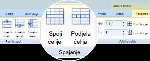 Spajanje ili Podjela ćelija tablice