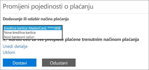 Padajući izbornik koji prikazuje mogućnosti Nova kreditna kartica i Novi bankovni računa.