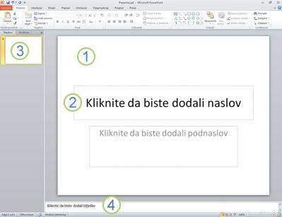 Radni prostor ili normalni prikaz programa PowerPoint 2010 s četiri označena područja.