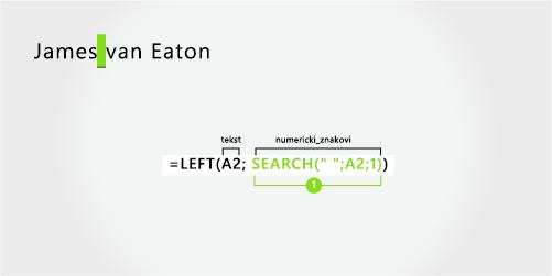 formula za razdvajanje imena i prezimena od dva dijela