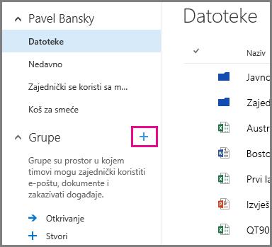 Snimka zaslona s prikazom stvaranja grupe na servisu OneDrive za tvrtke klikom na znak plus