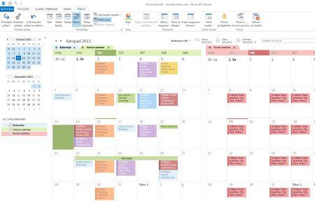 Primjeri kalendara u usporednom prikazu i prikazu preklapanja
