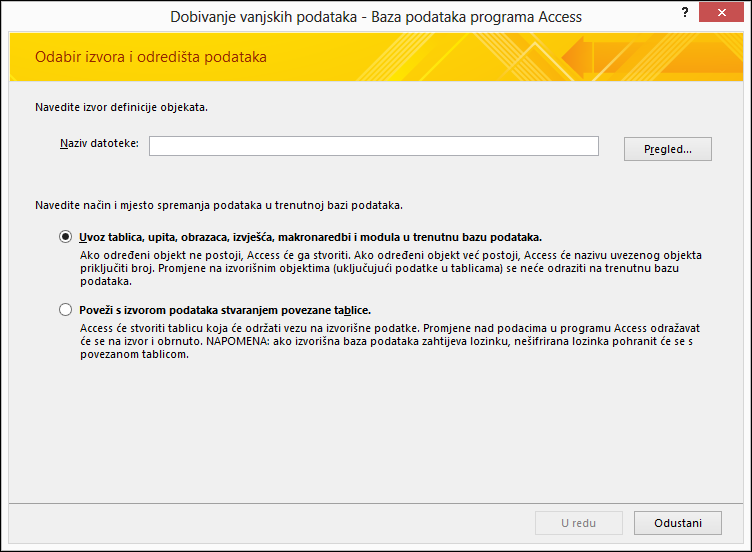 Snimka zaslona čarobnjaka za dohvaćanje vanjskih podataka – bazu podataka programa Access.