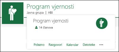 Kartica grupe timskog web-mjesta