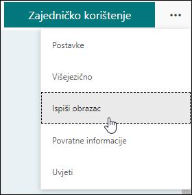 Mogućnost Ispiši obrazac u programu Microsoft Forms