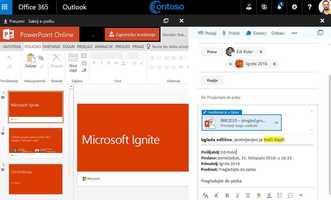 Snimka zaslona s privitke e-pošte