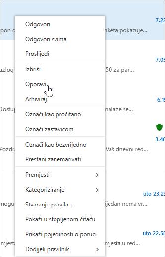 Snimke zaslona prikazuje mogućnost Oporavi odabrane kada poruku e-pošte u mapu Izbrisane stavke.