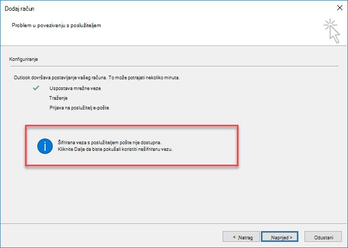 Pogreška šifrirane veze u programu Outlook