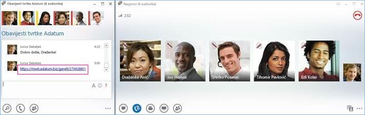 Snimka zaslona konferencijskog poziva u sobi za razgovor