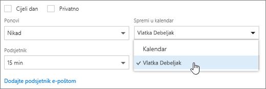 Snimka zaslona izbornika Spremi u kalendar.