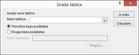 Dijaloški okvir Stvaranje tablice u programu Access omogućuje odabir mogućnosti za stvaranje upita tablice.