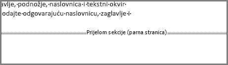 Prijelom sekcije parne stranice pri dnu stranice u programu Word.