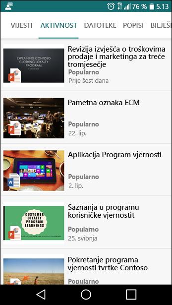 Mobilni prikaz timskog web-mjesta sustava SharePoint