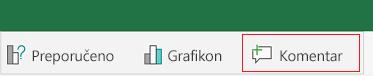 Dodavanje komentara u programu Excel za Android