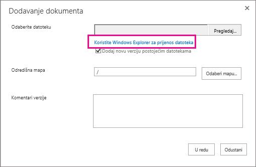 Umjesto toga odaberite Prijenos datoteka pomoću programa Windows Explorer.