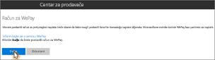 Snimka zaslona: Postavljanje računa za WePay u programu Microsoft Bookings