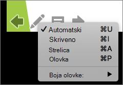 Snimka zaslona prikazuje mogućnosti dostupne za pokazivač koji se koristi u dijaprojekciji. Mogućnosti su automatske, skrivene, strelice, olovke i boja olovke.