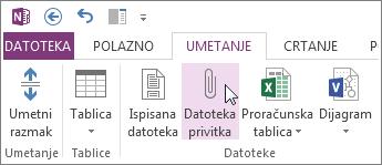 Umetanje datoteke u bilješke kao privitka