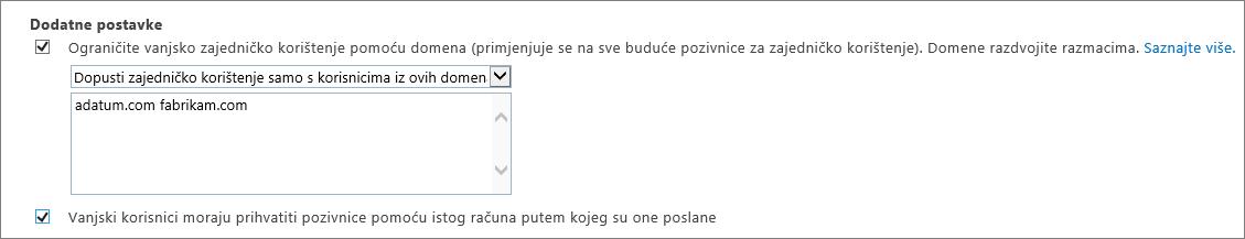 Dodatne postavke za ograničavanje vanjskog zajedničkog korištenja u sustavu Office 365 SPO