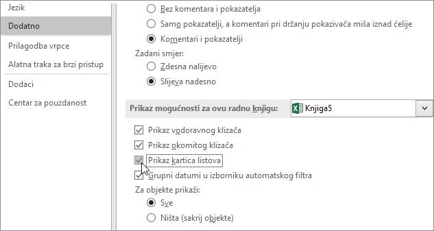 Prikazivanje kartica listova u mogućnostima programa Excel