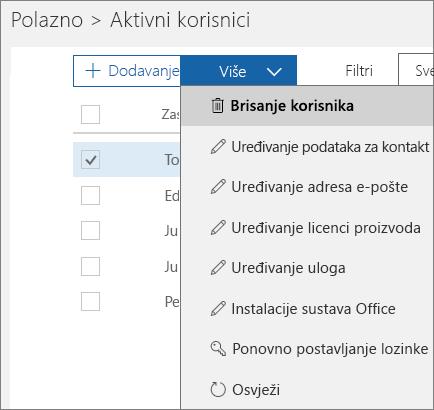Izbrišite korisnika putem centra za administratore sustava Office 365.