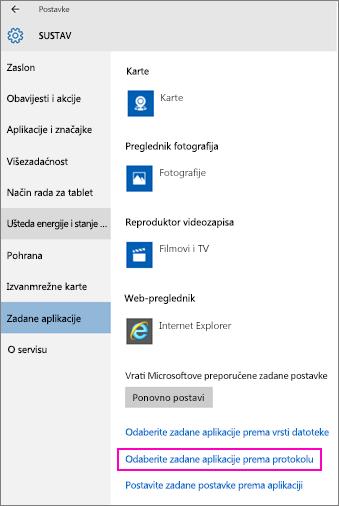 Snimka zaslona s postavkama za odabir zadanih aplikacija prema protokolu u sustavu Windows 10.