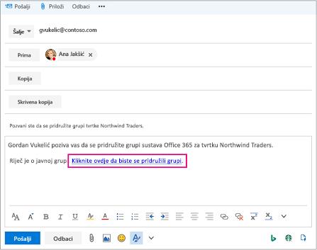 E-pošte s vezom za pozivanje korisnika za pridruživanje grupi