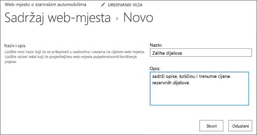 Novi dijaloški okvir popis da biste dodali naziv i opis