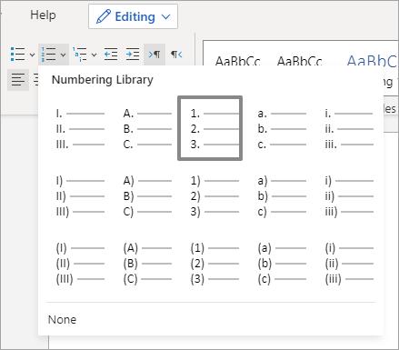 Mogućnosti u biblioteci numeriranja