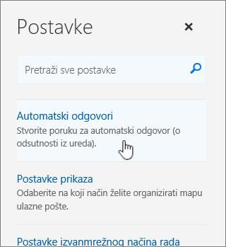 Snimka zaslona s prikazom zaslona pomoći s odabranom mogućnošću automatskog odgovora.