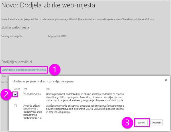 Dodavanje i upravljanje pravilima stranice
