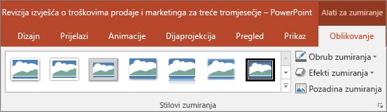 Prikazuje razne stilove zumiranja i efekte koje možete odabrati na kartici Oblikovanje u programu PowerPoint.