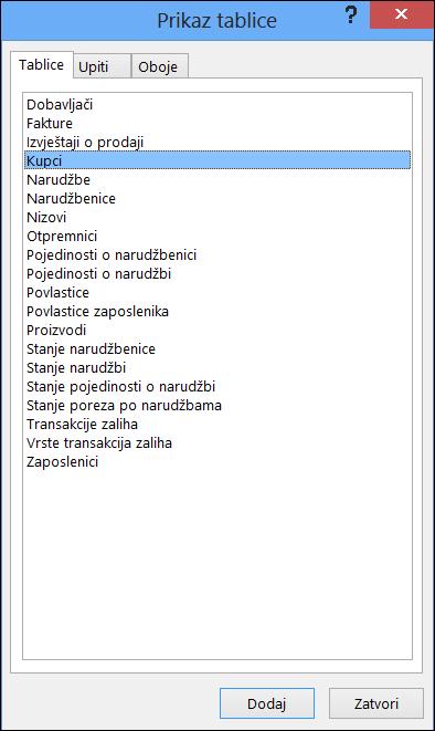 Prikazuje dijaloški okvir Tablica u programu Access s prikazanim nazivima tablica