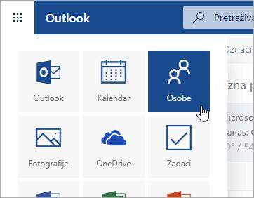 Snimka zaslona pločice Osobe u pokretaču aplikacija