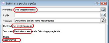 Isticanje potencijalne područja umetanja pretraživanja poruku e-pošte