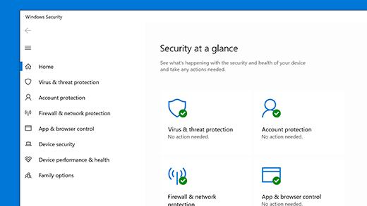 Početna stranica značajke Sigurnost u sustavu Windows
