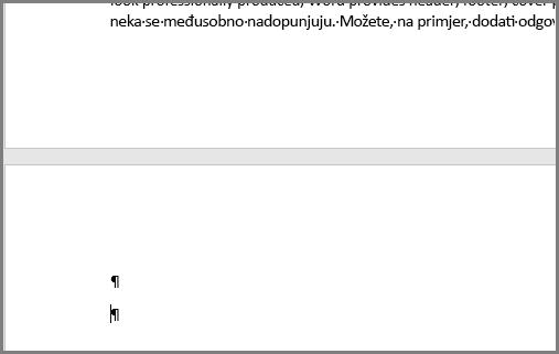Prazni odlomci pri vrhu stranice programa Word