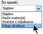 U dijaloškom okviru Ispis u odjeljku Ispiši, odaberite prikaz strukture
