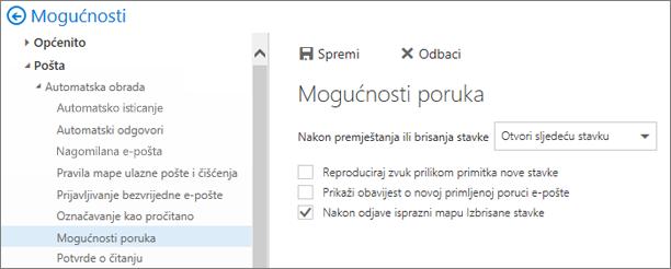 Snimke zaslona prikazuje dijaloški okvir Mogućnosti poruke okvira gdje je potvrđen okvir za Isprazni mapu Izbrisane stavke prilikom odjave.