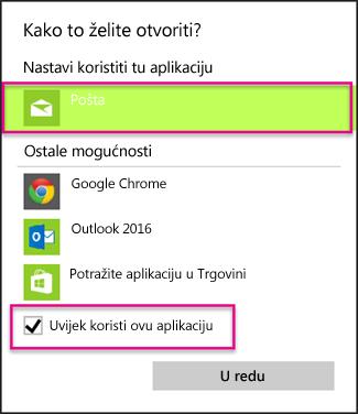 Odaberite aplikaciju za e-poštu koju želite koristiti