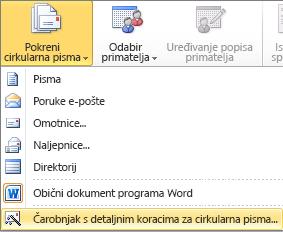 U programu Word na kartici skupna pisma odaberite Pokreni cirkularna pisma, a zatim kliknite Čarobnjak za cirkularna pisma