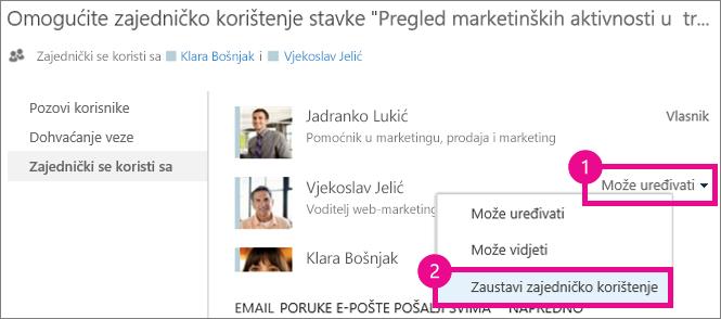 Naredba Zaustavi zajedničko korištenje u prozoru Zajedničko korištenje na servisu OneDrive za tvrtke