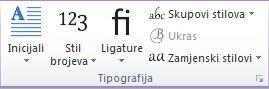Grupa Tipografija u programu Publisher 2010