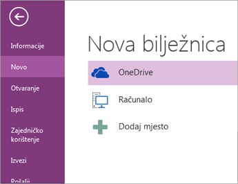 Postupak stvaranja nove bilježnice u programu OneNote