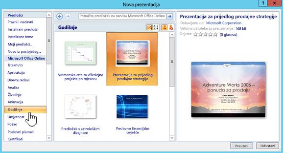Odabir internetskog predloška sustava Office