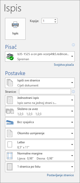 Snimka zaslona s prikazom okna Ispis s raznim postavkama ispisa, kao što je broj kopija.