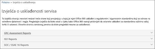 Pokazuje stranicu servisnog jamstva: izvješća o usklađenosti servisa.