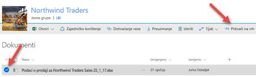 Odaberite datoteku, a zatim kliknite Prikvači na vrhu da biste ga lakše acessible na biblioteku dokumenata