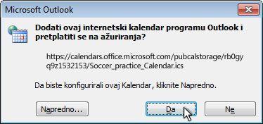 dijaloški okvir za dodavanje internetskih kalendara u outlook