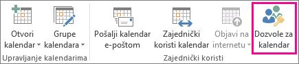 Gumb kalendar dozvole u kartica Polazno programa Outlook 2013